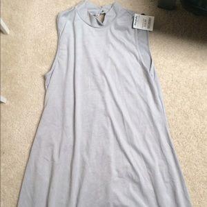 Suede mock neck dresses
