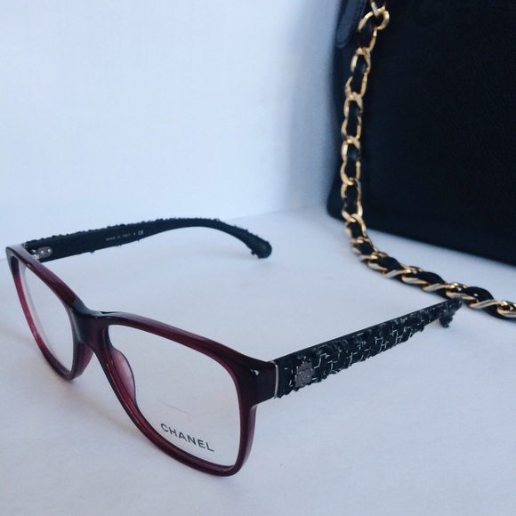 Chanel Tweed Eyeglass Frames : CHANEL - Authentic CHANEL maroon tweed glasses from ...