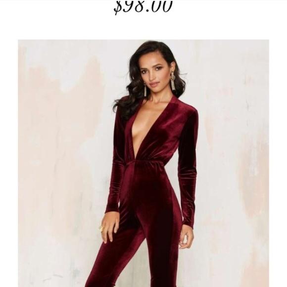 069e699adaf Nasty gal velvet jumpsuit romper red burgundy