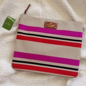 Kate spade oaks island striped Adrianne pouch