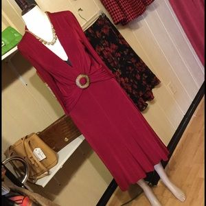 Jolibel red slinky dress w dec buckle sz 12