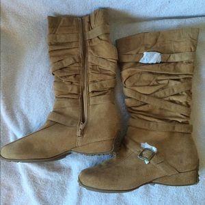 Glaze Chestnut Buckle Suede Boots, Size 8.5