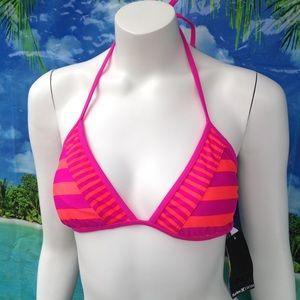 HURLEY bright pink bikini swim suit top L NEW!
