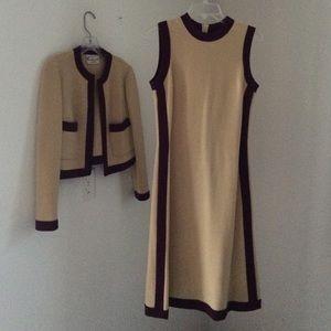 VTG 1970s Mad Men wool sweater dress set