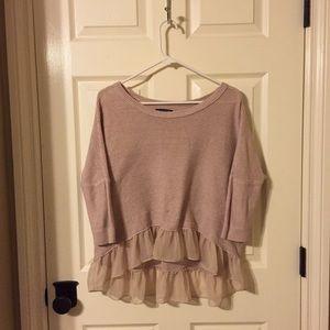 Blush Knitted Sweater with Chiffon Ruffle Detail