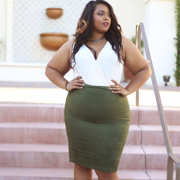 Plus size Olive Green Faux Suede Pencil Skirt 3X from Nicole\'s ...
