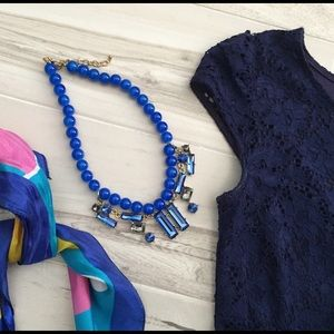 Blue layered statement necklace