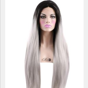 "24"" powder d room wig. Black roots to silver."