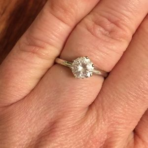 Jewelry - .925 sterling silver CZ engagement ring. Size 8