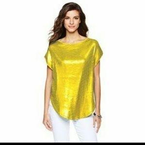 Diane Gilman Tops - Designer Diane Gilman dg2 yellow sequin top