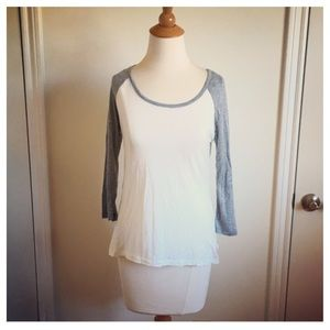 Tops - White & Grey Baseball Jersey Top