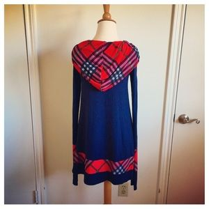 Dresses & Skirts - Navy Blue & Red Plaid Hoodie Dress