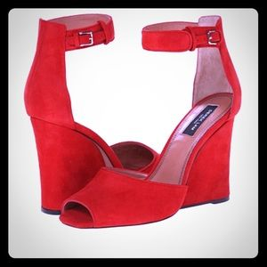 Derek Lam Shoes - 🆕 SOLD ON EBAY- Derek Lam Red Suede Wedges