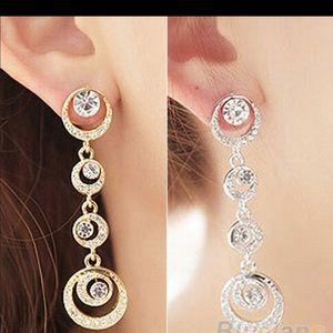 Jewelry - Circle silver dangle earrings