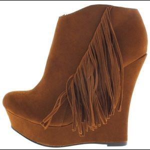 Shoes - Fringe Wedge Ankle Boots