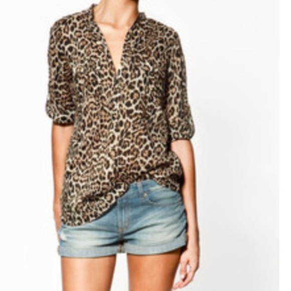 388f4b248820 Zara Tops | Animal Print Blouse | Poshmark