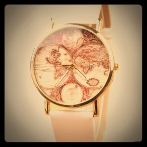 White world map watch