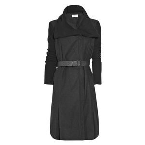Helmut Lang black wool coat leather belt