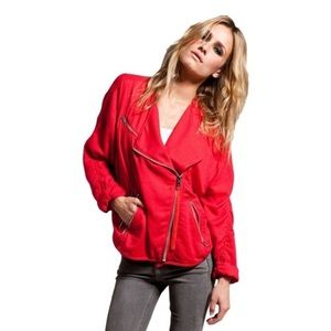 Acne Studios Red asymmetrical zipper moto jacket