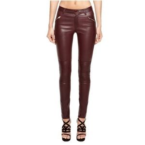 BLK DNM dark red leather moto pants
