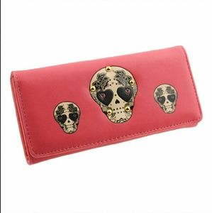 Cute Skull Wallet. *Coral Red*