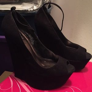 Shoes - Platform Black Suede Wedges