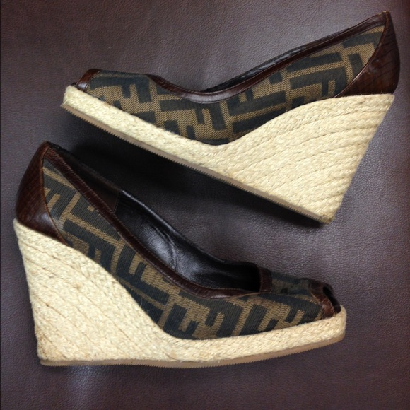 the latest detailed pictures san francisco FENDI Shoes | Zucca Brown Logo Wedge Espadrilles | Poshmark