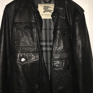 Mens beautiful Black Leather Burberry Jacket