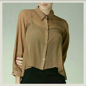 Classy Brown Button Up Top