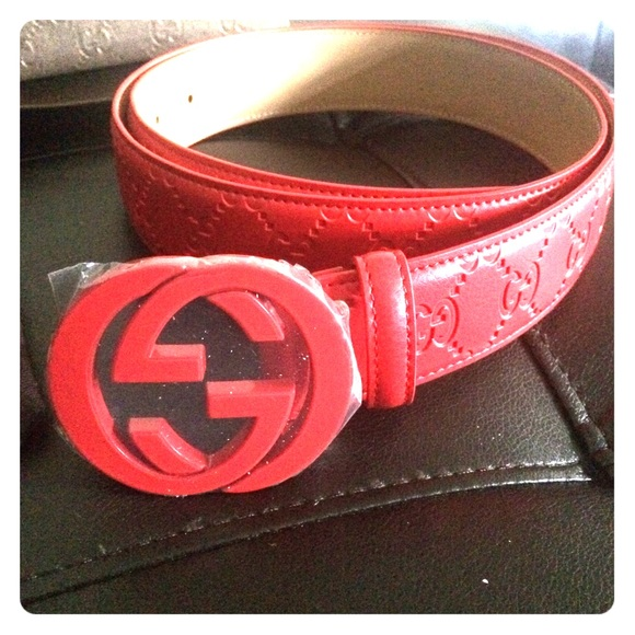 61% off Gucci Accessories - Red Gucci Belt from Abdullaah ...