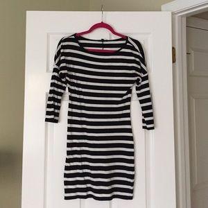 Express Black & White Striped Dress