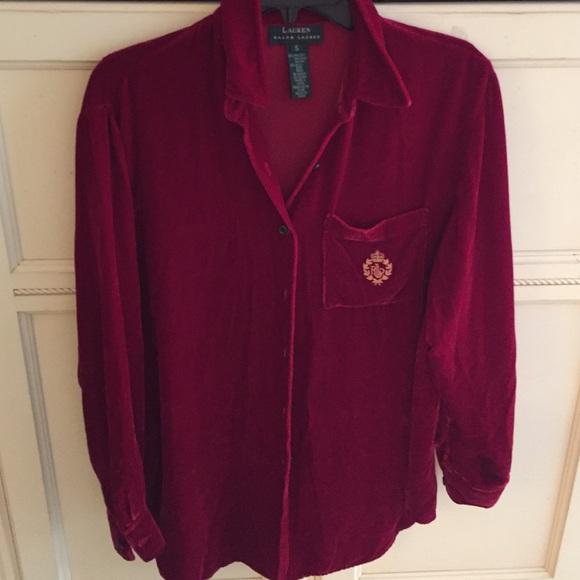 84 off ralph lauren tops ralph lauren red velvet shirt for Red velvet button up shirt