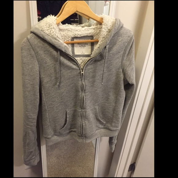 Abercrombie & Fitch full zip Sherpa lined hoodie