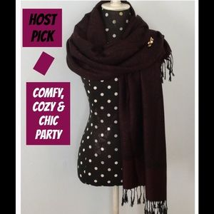 Boutique Accessories - 🎉HP🎉Black and Burgundy Pashmina