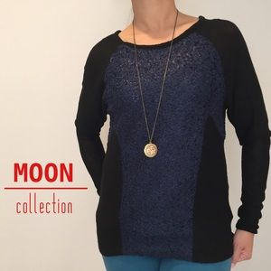 Moon Collection Navy/Black Raglan Sleeve Top