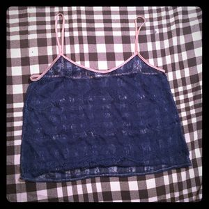 American Apparel blue + pink lacy crop top XS
