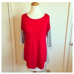 Tops - Red Jersey Top + B&W Striped Sleeves