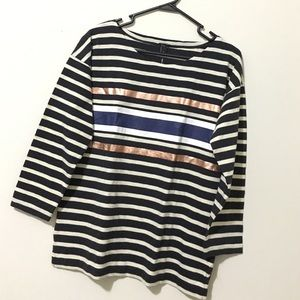 J. Crew Tops - Brand New J. Crew navy and white striped top