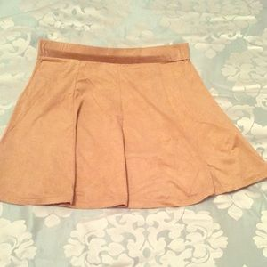 Dresses & Skirts - Faux suede tan pleated mini skirt