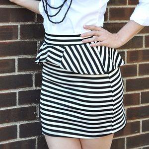 Dresses & Skirts - Black and White Striped Peplum Mini Skirt