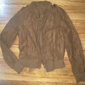 Faux Suede Crinkle Jacket size small