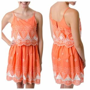 MOVING SALE❗️Orange + White Embroidered Sundress