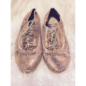 Rose Gold Sequin Oxford Flats Forever 21 size 7