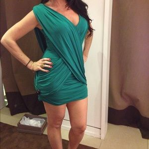 BCBG wrap dress in emerald green