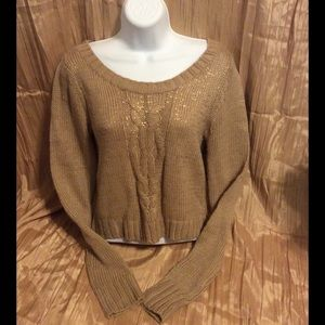 Nude/Gold SEXY Ballet Neck Crop Sweater - Size M