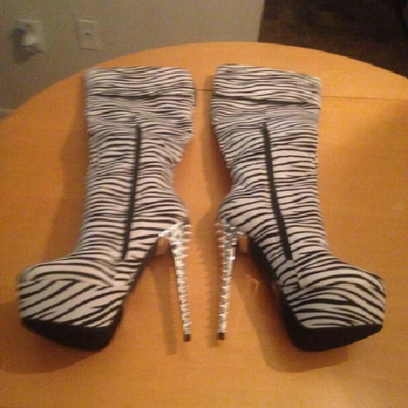 ff12c27f05eb Shoes | New Size 7 Cuffed Zebra Print Thigh High Boots | Poshmark