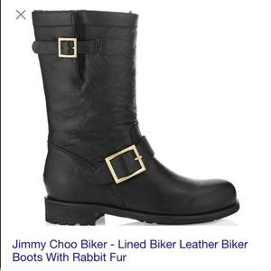 Jimmy Choo Boots - Jimmy Choo biker black leather boots with fur