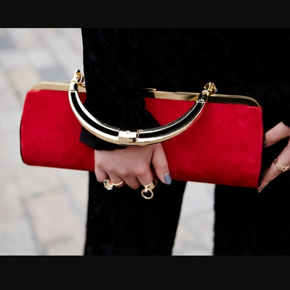 2a183093238 Balmain Bags   Hm X Red Suede Handbag   Poshmark