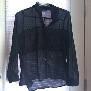 Tops - NEW black polyester blouse w/ black lace detailing