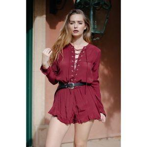 e409d6364dc3 Pants - Wine Lace Up Long Sleeve Romper